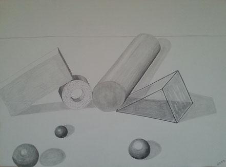 Kugeln, Zylinder, Quader, Stillleben, Bleistiftzeichnung, Christian Niklis