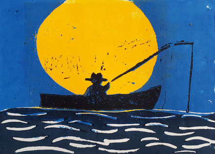 Angler, Sonnenaufgang, Sonnenuntergang, Holzschnitt, Holzdruck, Christian Niklis