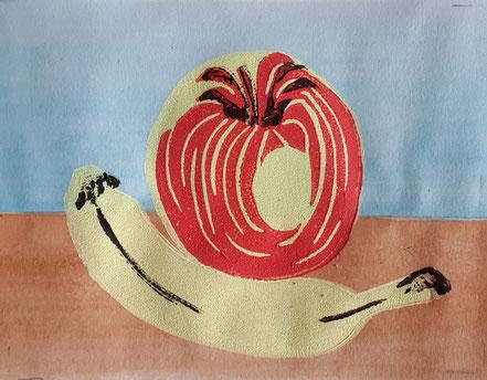 Stillleben, Apfel, Banane, Linolschnitt, Linoldruck, Christian Niklis