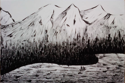 Landschaft, Segelschiff, Wald, Bucht, Berge, Meer, Tuschezeichnung, Christian Niklis
