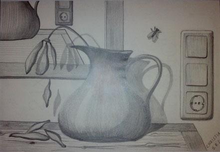 Stillleben, Blume, Blumenvase, Blütenblätter, Stubenfliege, Bleistiftzeichnung, Christian Niklis