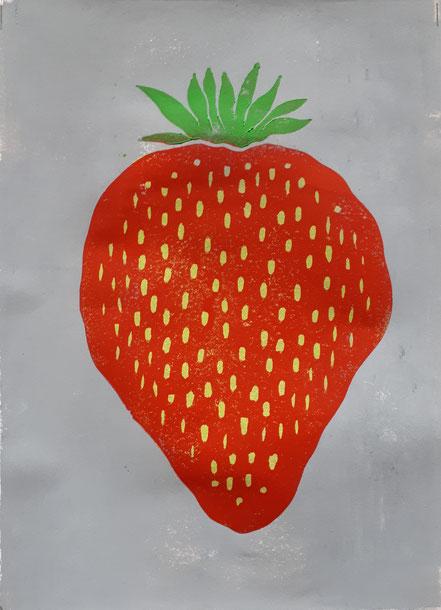 Erdbeere, Linolschnitt, Linoldruck, Christian Niklis