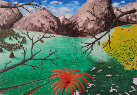 Landschaft, Weg, Wiesen, Äste, Blume, Bäume, Büsche, Berge, Kirche, Acrylfarbe, Christian Niklis