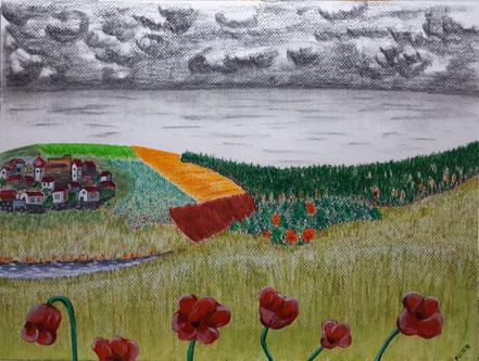 Landschaft, Fernblick, Blumen, Wiesen, Felder, Wald, Stadt, Meer, Gewitterwolken, Bach, Bleistift, Acrylfarbe, Aquarellkreide, Christian Niklis
