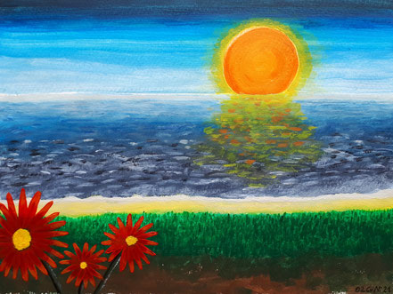 Sonnenaufgang, Sonnenuntergang, Meer, Blumen, Strand, Acrylfarbe, Christian Niklis