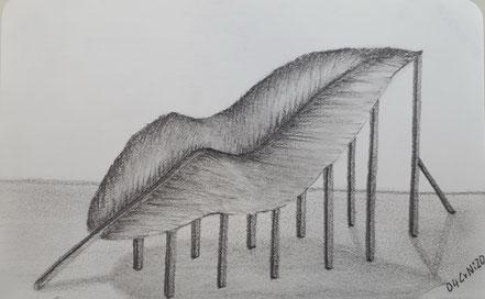 Surrealismus, Blatt, Pflanzenblatt, Baumblatt, Stützen, Stützpfeiler, Bleistiftzeichnung, Christian Niklis