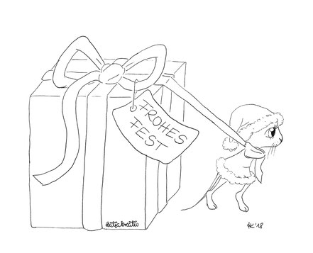 Ausmalbild Malvorlage kostenlos Cottbus Maus Weihnachten Mausemädchen Geschenk christmas xmas mouse