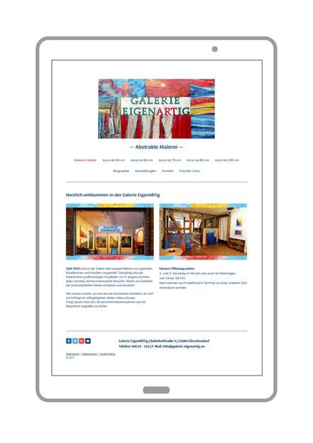 Website, Startseite von der Galerie EigenARTig, Abstrakte Malerei aus Scharbeutz