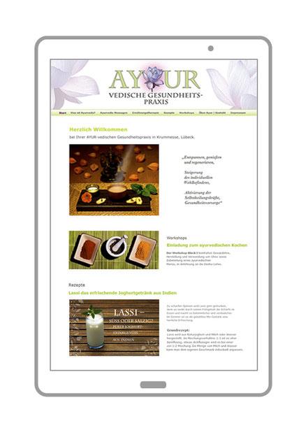 Website, Startseite Ayurvedische Gesundheitspraxis