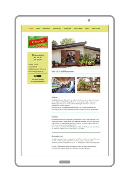 Website, Startseite von Galerie Fiedler, Ratekau an der Ostsee