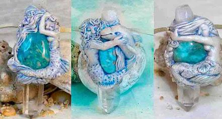 Colgante Sirena, collar Sirena, Sirena con Delfín, Sirena con caballito de Mar, Joyería Sirenas