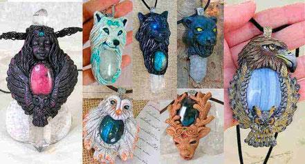 Joyería tótem animal, Colgante Tótem Animal espiritual, Collar Tótem, Varita Tótem Animal, Colgante Lobo, Colgante búho