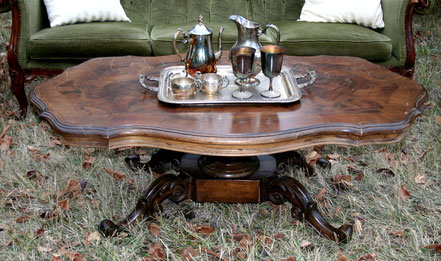 Dark wood carved table