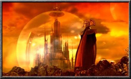 Ein Time Lord vor der Stadt Arkadia auf Gallifrey