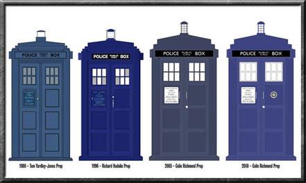 TARDIS aus den Jahren 1980, 1996, 2005 und 2010