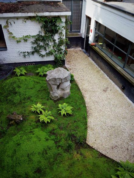 Mousse, fougère, sculpture, graviers - Paysagiste écologique