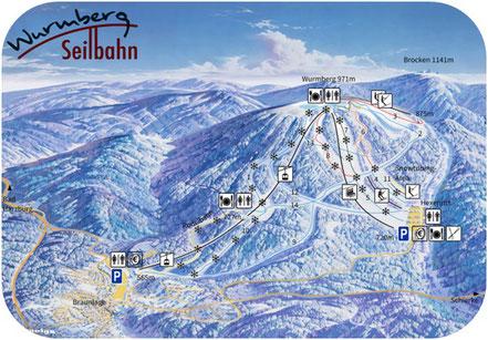 skibakken wurmberg ski piste harzen plan