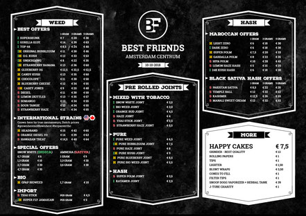menu coffeeshop best friends amsterdam