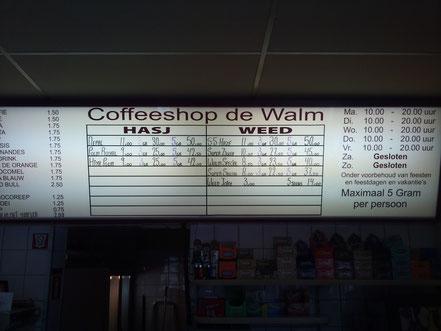 menu coffeeshop de walm arnhem