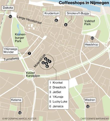 coffeeshops map nijmegen