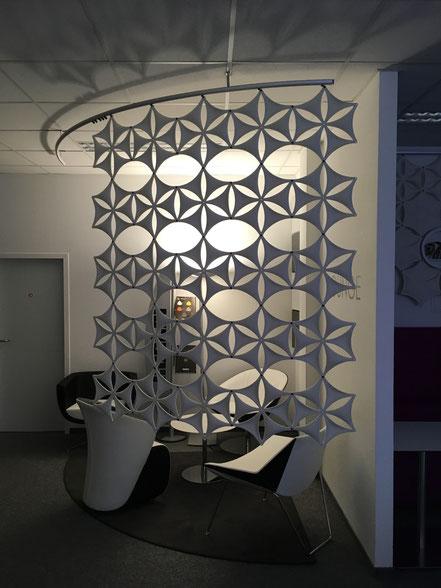 Airflake, eleganter Raumteiler, Akustik Design, Büro Design, Raumteiler Büro