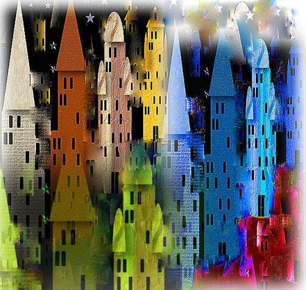 Kreativität am PC - bunte Stadt- mit Foto-Impact gestaltet