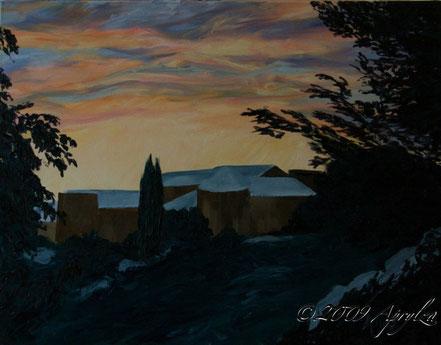 0036-le Château de St Marc in winter sunset, 65/50cm oil on canvas