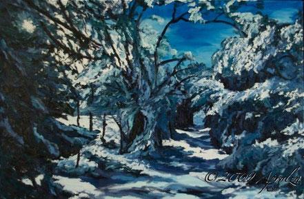 0039-le chemin à la Source de St Marc sous la neige, 81/54cm oil on canvas
