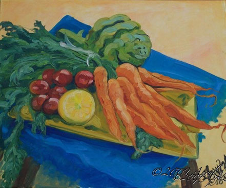 Still LIfe with Carrots, 55/46cm oil on canvas