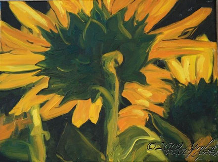 0021-Behind the Sunflower, 35/27cm oil on canvas