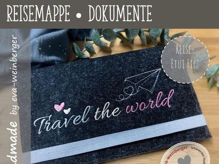 Reisepasshülle Dokumentenmappe Reisemappe Travelorganizer Geschenk Hochzeit Brautpaar Filz personalisiert Namen Flugzeug