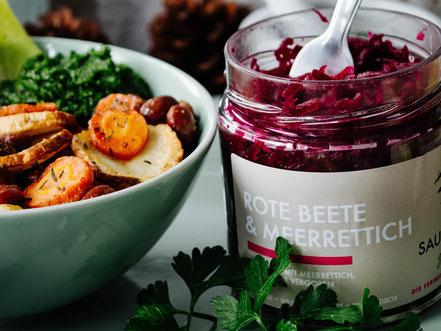 fermentierte rote Beete SAUER MACHT GLÜCKLICH | fermentierte Lebensmittel - von Hand hergestellt und nach Hause geliefert. Vegan. Roh. Glutenfrei. Natürlich. Gesund. Lecker.