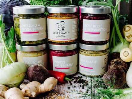 Sparpaket SAUER MACHT GLÜCKLICH | fermentierte Lebensmittel - von Hand hergestellt und nach Hause geliefert. Vegan. Roh. Glutenfrei. Natürlich. Gesund. Lecker.
