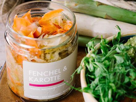 fermentierter Fenchel & Karotte SAUER MACHT GLÜCKLICH | fermentierte Lebensmittel - von Hand hergestellt und nach Hause geliefert. Vegan. Roh. Glutenfrei.