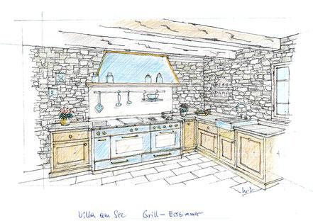 Ansichtszeichnung Küche