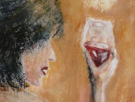 Jügen Kühne, Tangotänzerin mit einem Glas Wein (Ausschnitt)