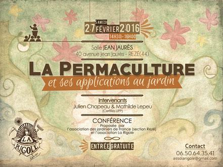 La Rigole - Événements et formations - Conférence - La Permaculture et ses applications au jardin - les 27 Février 2016 -  Rezé (44)