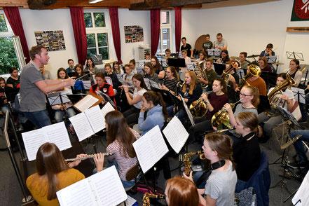 Probe des Projektorchesters am 02.10.19 in Birgden. Foto: Karl-Heinz Hamacher