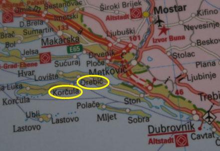 Karte Orebic und Korčula