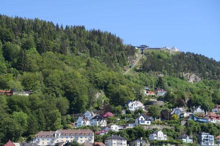 Oben die Aussichtsplattform Fløyberg mit Bahn