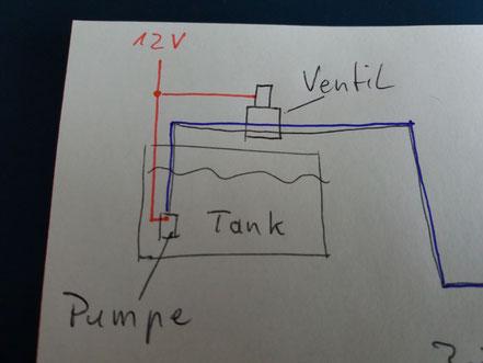 12 V an der Pumpe abgegriffen