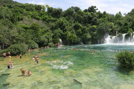Krka Wasserfälle, Badestelle
