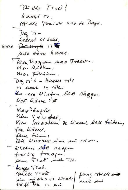 Plattdeutsches Gedicht für Kea - April 1971