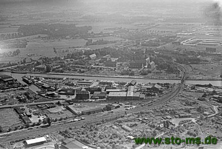 Foto Cekade - Ausschnitt mit Stadthafen II und Bahngleisen des Güterbahnhofs