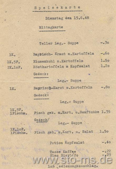 Speisekarte des Hansahofes 1948