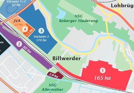 Die rote Fläche zeigt das geplante Oberbillwerder.
