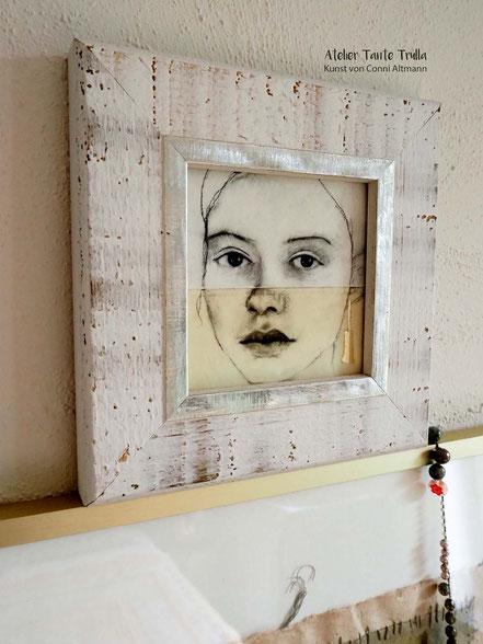 kleiner Kunstdruck Kohlezeichnung Gesicht