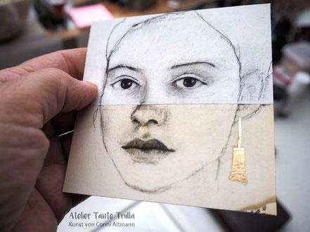 kleiner Kunstdruck Kohlezeichnung Gesicht mit Blattgold