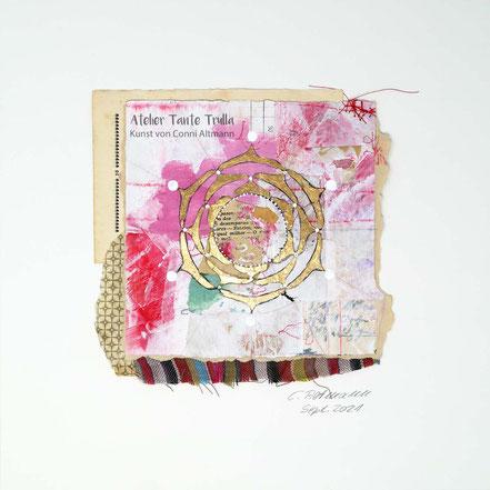 Mixed Media Mandala Gemälde mit Blattgold
