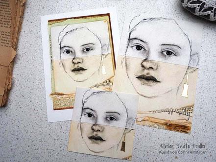 kleine Kunstdrucke Kohlezeichnung Gesicht